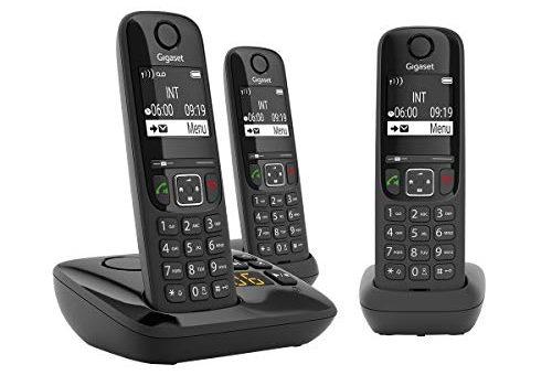 Gigaset AS690A Trio Festnetz-/Schnurlostelefon mit Anrufbeantworter DECT-Telefon mit 3 Mobilteilen, Freisprechfunktion, großes Display, große Tasten schwarz