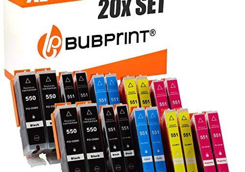 Bubprint 20 Druckerpatronen kompatibel für Canon PGI 550 XL 550XL BK CLI 551 551XL für Pixma IP7250 IP8750 IX6850 MG6450 MG7550 MX920 MX925 Multipack