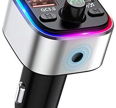 Bovon Bluetooth FM Transmitter mit 6 Farbiges Umgebungslicht Bluetooth Adapter Auto Radio Transmitter, Freisprecheinrichtung Auto Ladegerät mit QC3.0-Port, Unterstützt TF Karte & USB-Stick