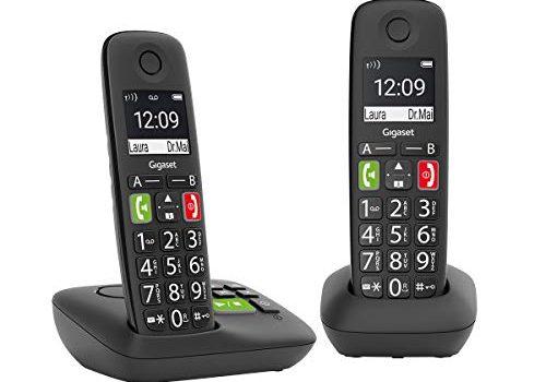 Gigaset E290A Duo 2 schnurlose-/ DECT -/ Analoge Telefone mit Anrufbeantworter, Telefone mit großen Tasten und großem Display schwarz