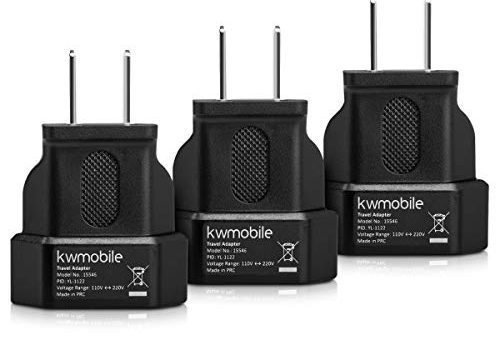 kwmobile 3X Reiseadapter für Europa-Stecker in USA-Dose – perfekt für Reisen ins Ausland – Für USA, Kanada, Mexiko