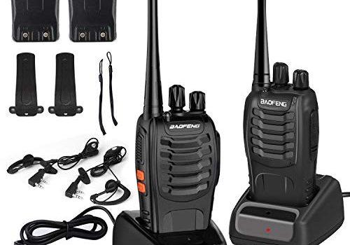 Walkie Talkies Baofeng BF-888s Handfunkgerät 6 km Entfernung,UHF 400-470 MHz, 16 Kanäle Walky Talky, wiederaufladbar, inkl. Kopfhörer, Funksprechgeräte LED-Licht