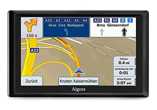 Aigoss Navigation für Auto, 7 Zoll Touchscreen 8GB GPS Navi Navigationsgerät mit Bluetooth POI Sprachführung Fahrspurassistent LKW PKW KFZ mit Lebenszeit Kostenlose Kartenupdates 2019 Europa Karten