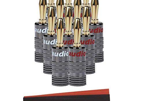 Audiocrast HiFi Bananenstecke 4 Paar / 8 Stück 24K Vergoldet Bananas,Steckverbinder für Lautsprecherkabel bis 6mm²,HiFi Boxen,AV-Receiver 4 Rot & 4 Weiß