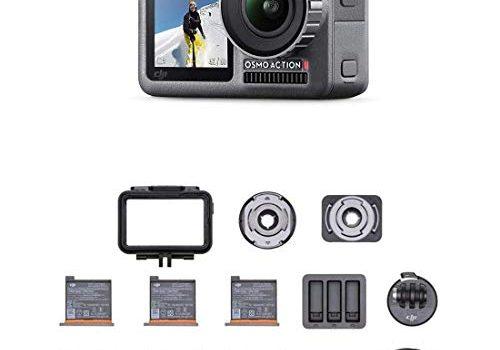 Schwarz – DJI Osmo Action Cam – Digitalkamera mit 2 Bildschirmen, wasserdicht bis zu 11 m, integrierte Stabilisierung, Foto und Video in 4K HDR bei 100 Mbit/s, Sprachsteuerung, Zubehör-Kit enthalten