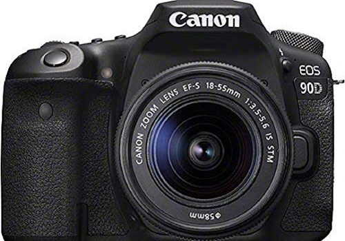 Canon EOS 90D Spiegelreflexkamera 32,5 MP,  7,7 cm 3 Zoll Vari-Angle Touch LCD, APS-C Sensor, 4K, Full-HD, WLAN, Bluetooth Gehäuse + EF-S 18-55mm f/3.5-5.6 IS STM Objektiv, schwarz