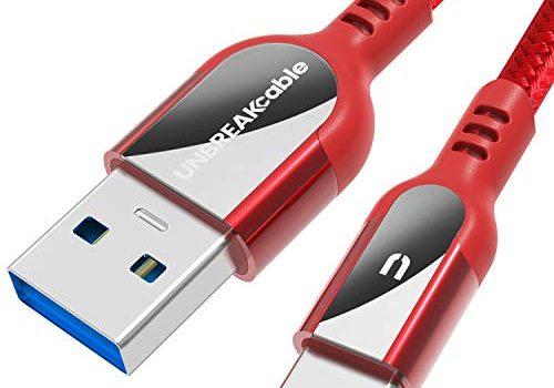 2m Ultra langlebiges Nylon geflochtenes USB C Schnellladekabel für Samsung Galaxy S10/S9/S8+, Huawei P30/P20 Pro Lite, MacBook, Sony, Pixel, HTC, LG – Rot – UNBREAKcable Typ C auf USB 3.0 Kabel