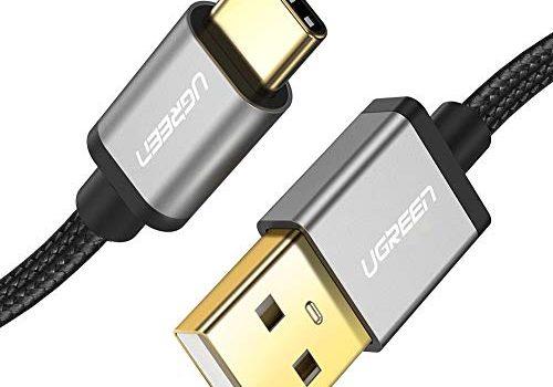 UGREEN USB C Kabel Ladekabel USB Typ C Schnellladekabel kompatibel mit Samsung S10 S9 S8 A7 2017 M20, Huawei P30 lite P9, Sony Xperia XZ, HTC U11, Nokia 7 Plus, Xiaomi Mi 8 Mi 9 usw. Aluminium 1 M