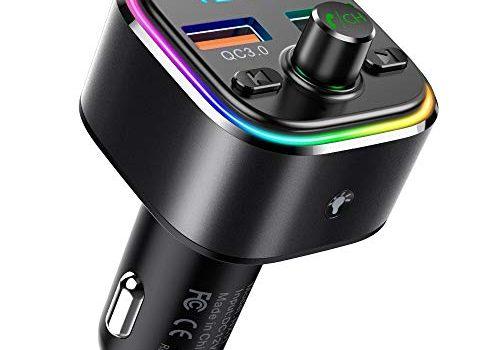 FM Transmitter, NULAXY Auto Bluetooth FM Transmitter : Bluetooth Adapter Auto Transmitter mit 7 Farbe LED Backlit, QC 3.0 Port und Unterstützt TF Karte & USB-Stick