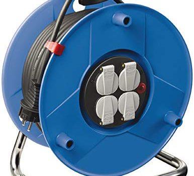 Brennenstuhl Garant Kabeltrommel 25m – Spezialkunststoff, Einsatz im Innenbereich, Made In Germany blau