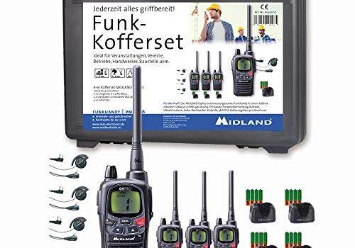 Midland G9 Pro Funkgeräte-Kofferset, AL200.S7, 4 x Walkie Talkies, wasserdicht und mit Notfallknopf, hochwertige Qualität mit sehr hoher Sendeleistung