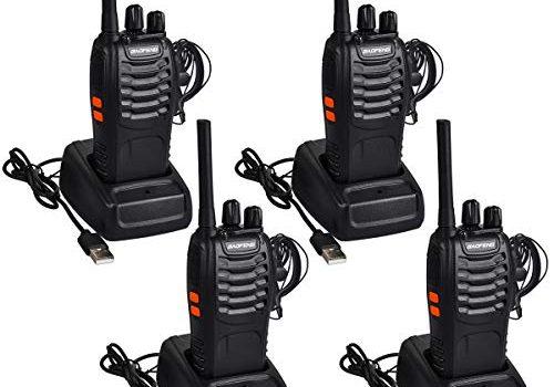Funkprofi BF-88E PMR Walkie Talkie Set, Funkgeräte 16 Kanäle Reichweite 5 km Wireless Professionelle Hand-Funkgerät Dual Band Radio CTCSS/DCS Rauschsperre 400-470 MHz 2 Paar mit Headset