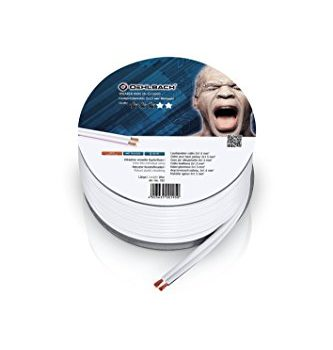 Stereo HI-FI Lautsprecherkabel – Oehlbach Speaker Wire SP-15 – Mini Spule Lautsprecher Kabel – Boxenkabel mit OFC sauerstofffreies Kupfer 2×1,5 mm² – 20 m – Weiß