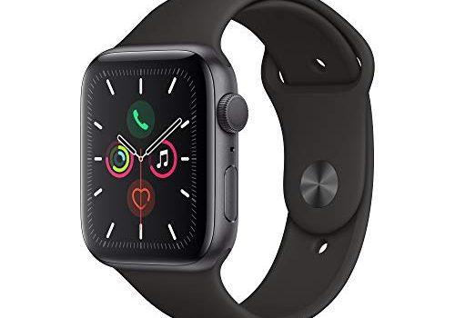 Apple Watch Series 5 GPS, 44 mm Aluminiumgehäuse Space Grau – Sportarmband Schwarz