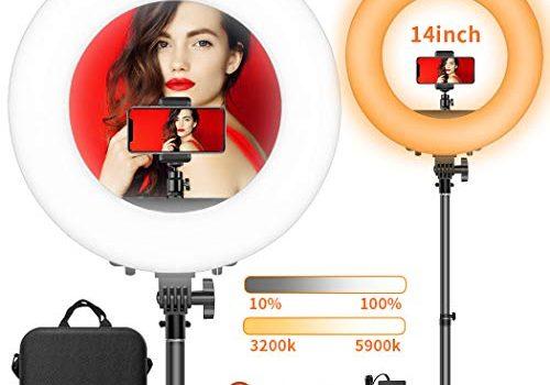 LED Ringlicht, FOSITAN 14-Zoll/36 Zentimeter Ring Licht Set, 50W Bi-Farbe 3200-5900K 384 SMD mit 2M Standfuß, Bluetooth-Empfänger für Smartphone, für YouTube Self-Porträt Videoaufnahme Make-up