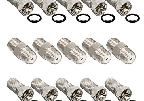 HB-DIGITAL Set: 10x F-Stecker 7mm breite Mutter + 5X F-Verbinder Buchse / Buchse HQ für Koaxial Antennenkabel Sat Kabel BK Anlagen
