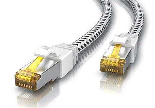 Switch Router Modem Access Point – 5m CAT 7 Netzwerkkabel Gigabit Ethernet LAN Kabel – Cat.7 Rohkabel S FTP PIMF Schirmung mit RJ 45 Stecker – Patchkabel – Baumwollmantel – CSL – 10000 Mbit s