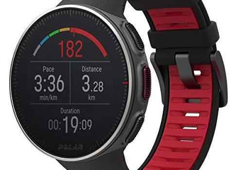 Polar Vantage V Titan, Unisex GPS-Multisportuhr mit optischer Pulsmessung für den Profisport, Multisport- und Triathlontraining, Optische Pulsmessung, Laufleistung, Wasserdicht, Schwarz/Rot, One Size
