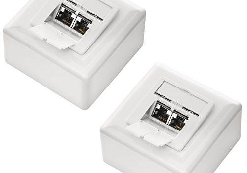 Weiß – 1 Gigabit Ethernet Netzwerk – deleyCON 2X CAT 6 Universal Netzwerkdose als Set – Geschirmt – Aufputz oder Unterputz – 2X RJ45 Port – EIA/TIA 568B