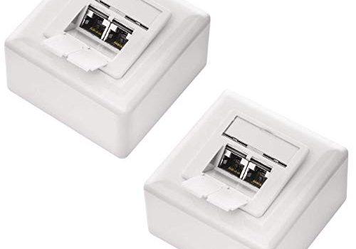 10 Gigabit Ethernet Netzwerk – deleyCON 2X CAT 6a Universal Netzwerkdose im Set – Geschirmt – EIA/TIA 568A&B – 2X RJ45 Port – Aufputz oder Unterputz – Weiß