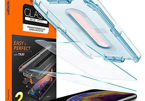 Spigen, 2 Stück, Panzerglasfolie kompatibel mit iPhone 11 Pro, iPhone XS/X, Glas.tR EZ Fit, Schablone für Installation, Hüllenfreundlich, 9H gehärtes Glas, Schutzfolie für iPhone 11 Pro 063GL25358