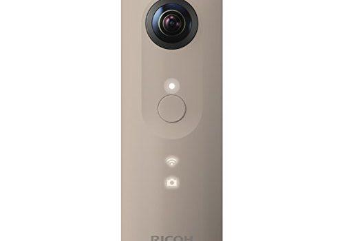 Ricoh Theta SC beige 360 Grad Vollsphärenkamera 2x 12 MP, Full-HD-Video, 8GB interner Speicher, lichtstarkes Objektiv F 2.0