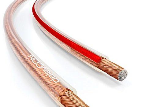 deleyCON 10m Lautsprecherkabel 2X 1,5mm² Boxenkabel CCA Kupferüberzogenes Aluminium 2x48x0,20mm Litze Polaritätskennzeichnung – Transparent