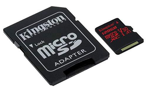 Kingston MicroSD Canvas React SDCR 128 GB klasse 10 Speicherkarte mit Adapter, Ideal für Serienaufnahmen und 4K Video