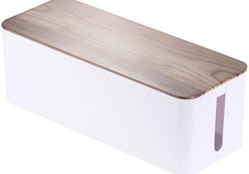 Callstel Kabelaufbewahrung: Kabelbox groß, 39 x 15,5 x 14 cm, in Nussbaum-Holzoptik mit Gummifüßen Ladebox