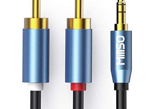 MillSO Chinch auf Klinke 3,5 Kabel 10m Stereo 3,5mm Klinke zu 2 Cinch RCA Stecker Audio Aux Klinkenkabel Vergoldet Metall Stecker, Doppelte Schirmung