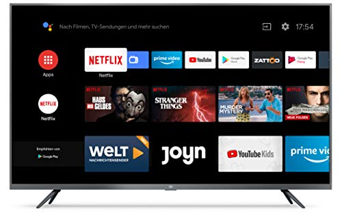 Xiaomi Mi Smart TV 4S 43″ 4K Ultra HD, Triple Tuner, Android TV 9.0, Fernbedienung mit Mikrofon, Amazon Prime Video und Netflix