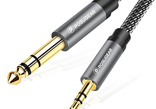 POSUGEAR 3.5mm Klinke auf 6.35mm Klinke Kabel 2M, Nylon Geflochten 6.35mm Klinkenstecker auf 3.5mm Aux Audio Stereo Kabel Stereo Kompatibel mit iPod, Laptop, Heimkino Gitarre Lautsprecher Grau