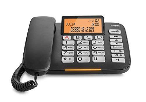 Tischtelefon mit extra leichter Bedienung und beleuchtetem Farbdisplay, schwarz – schnurgebundenes Senioren Telefon – Gigaset DL580