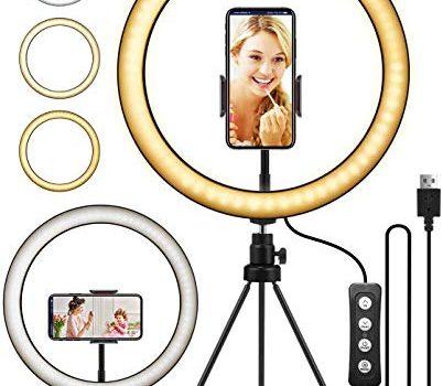 ELEGIANT LED Ringlicht Stativ, 10.2″ Selfie Ringleuchte Makeup dimmbar 3 Lichtfarben+11 Helligkeitsstufen erstellbar Stativstab Handyhalter für YouTube Live-Stream Selfie Portrait Volg Schminken