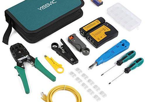 Yissvic 12 in 1 Netzwerk Werkzeug Set Testgerät Kabeltester LAN Reparaturwerkzeuge Netzwerk-Tool-Kit für RJ45 RJ11 Cat5 Cat6 Kabel Verpackung MEHRWEG