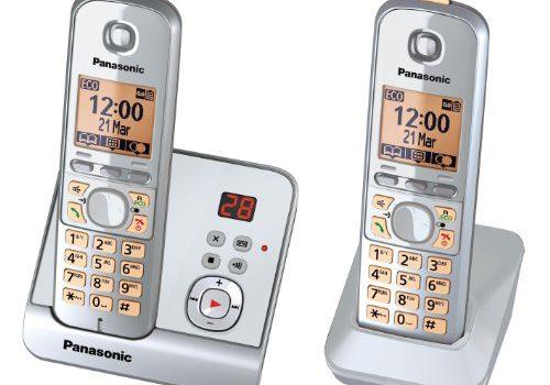 Panasonic KX-TG6722GS Duo Schnurlostelefon 4,6 cm 1,8 Zoll Display, Smart-Taste, Freisprechen, Anrufbeantworter perlsilber