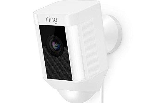 Ring Spotlight Cam Wired   HD Sicherheitskamera mit LED Licht, Sirene und Gegensprechfunktion, 240 V kabelgebunden, weiß