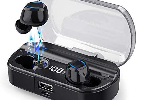 【2019 Neueste】 iPosible Bluetooth Kopfhörer Kabellos In Ear Kopfhörer Noise Cancelling【LCD 100%-0】 3500mAh Ladebox Stereo Sound Drahtlose Ohrhörer IPX7 mit Mikrofon Bluetooth 5.0 Sport Kopfhörer