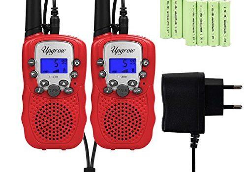 Upgrow T-388 Walkie Talkie Funkgerät für Kinder mit Wiederaufladbaren Akkus, Kinder Funkgerät PMR446 Funk Handy, 8 Kanäle mit LCD-Display Rot
