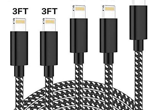 CNANKCU Phone Ladekabel, 5Pack 3/3/6/6/10 FT Nylon Phone Kabel MFi Zertifiziert für iPhone XS/XS MAX/XR/8/8 plus/7/7 Plus/iPad- Schwarz und weiß