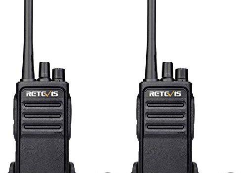 Retevis RT617 Walkie Talkie Funkgerät Set 16 Kanäle 1200mAh CTCSS/DCS VOX Nicht magnetisches Mikrofon Lizenzfrei PMR Funkgerät Wiederauflabar USB Ladeschale 1 Paar, Schwarz