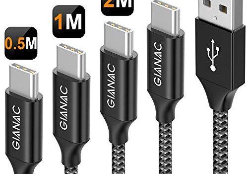 GIANAC USB Typ C Kabel, 4Pack 0.5m 1m 2m 3m Nylon 3A Fast Charge Sync schnellladekabel USB C ladeKabel für Samsung Galaxy S10/S9/S8, Huawei P30/P20, Google Pixel, Xperia XZ, OnePlus 6T-Grau