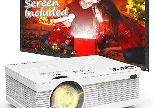 Beamer QKK AK-81 Projektor Mini Beamer mit Screen 3800 Lumens Videobeamer unterstützt 1080P Full HD Kompatibel mit TV Stick, PS4, HDMI, VGA, SD, AV und USB, Heimkino Projektor, Weiß, MEHRWEG.