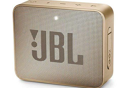 JBL GO 2 kleine Musikbox in Champagner, Wasserfester, portabler Bluetooth-Lautsprecher mit Freisprechfunktion, Bis zu 5 Stunden Musikgenuss mit nur einer Akku-Ladung