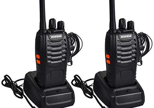 Mit Headset – Miavogo 2 x Walkie Talkie Set, Funkgerät BF88E PMR446 16 Kanäle 3 KM USB Wiederaufladbare Woki Toki Outdoor Handfunkgerät Funksprechgerät Schwarz