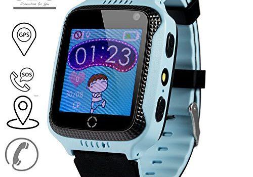 JBC GPS Uhr Kinder Telefon Uhr smartwatch Fuer Kinder kinderuhr mit GPS ohne Abhörfunktion/mit sicherem Deutschen Server, SOS Notruf+Telefonfunktion/Anleitung+Uhr+App+Support: Deutsch Blau