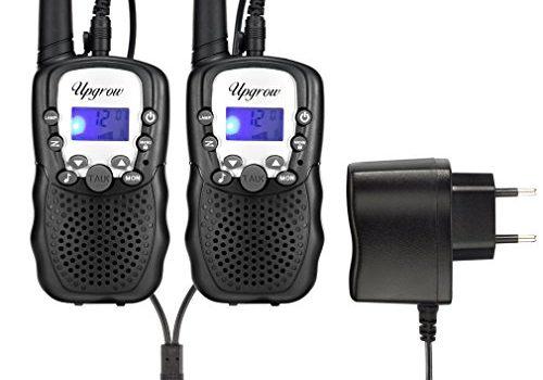 Upgrow T-388 Walkie Talkie Funkgerät für Kinder mit Wiederaufladbaren Akkus, Kinder Funkgerät PMR446 Funk Handy, 8 Kanäle mit LCD-Display Schwarz