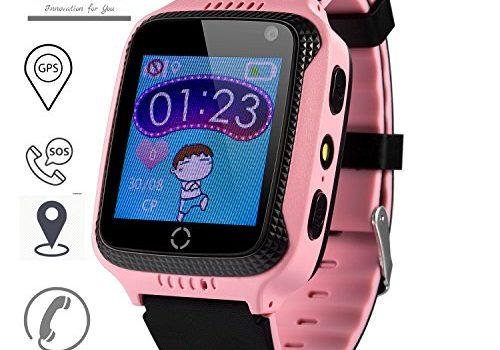 JBC GPS Uhr Kinder Telefon Uhr smartwatch Fuer Kinder kinderuhr mit GPS ohne Abhörfunktion/mit sicherem Deutschen Server, SOS Notruf+Telefonfunktion/Anleitung+Uhr+App+Support: Deutsch pink