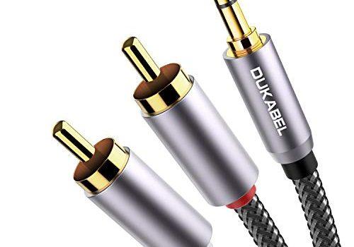 DuKabel 3,5mm Klinke auf Cinch Kabel 2 Chinch Stecker auf Klinke 3.5mm Stecker 3 Pole, Stereo Rot Weiß Aux Kabel 3.5 auf RCA Audiokabel mit 99.99% 4N-OFC und 3-Abschirmung – Top Series 2.4m