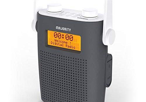 Majority Eversden Duschradio Wasserdichtes DAB/DAB + Wiederaufladbares tragbares UKW- IPX5, stoßfestes Material, Gummiband, Bluetooth, AUX-Eingang, Kopfhöreranschluss, Dual-Wecker, Dusch-Timer Grau